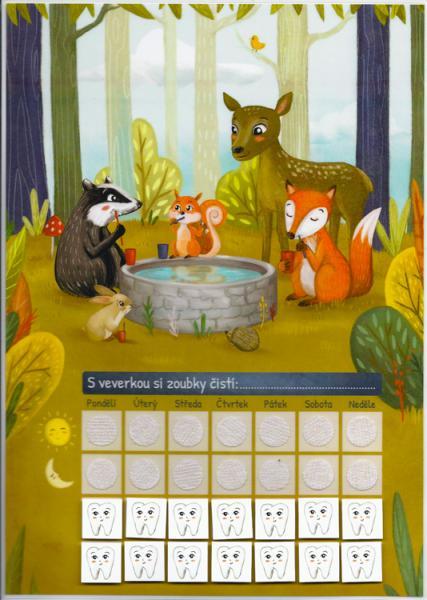 Motivační tabulka zvířátka v lese