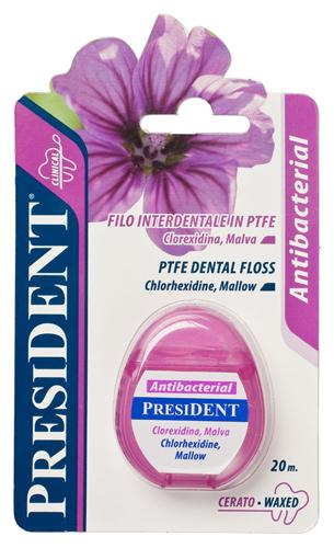 PresiDENT dentální niť Antibacterial, voskovaná
